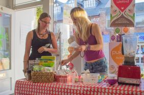 Taste some delicious, freshly made Make It Healthy samples.