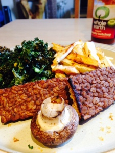 Tempeh, Celeriac Chips and Kale